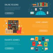 Library Flat Banners Set Stock Illustration