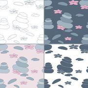 Seamless patterns with Thai massage, spa elements - stock illustration