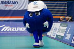 Mascot of Dynamo Moscow team walking Stock Photos