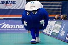 Mascot of Dynamo Moscow team walking - stock photo
