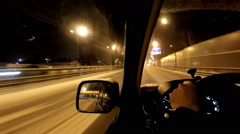 Night car driving on snowy winter highway Stock Footage
