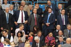 Nikolay Patrushev on tribune - stock photo