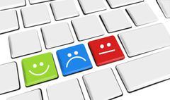 Customer Service Icons Happy and Sad clients on keyboard keys - stock illustration