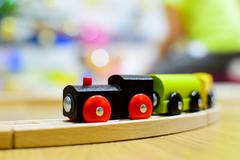 Wooden train. Toy detail. Stock Photos