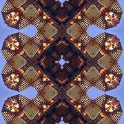 Golden ornament - kaleidoscopic wallpaper tiles - stock illustration