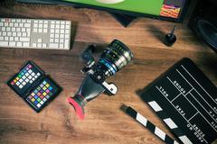 Desktop shot of a modern Cinema Camera Stock Photos