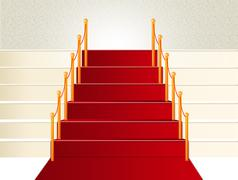 Stock Illustration of Red Carpet Stairs going upword success concept