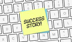 Stock Illustration of Success Story Note on keyboard keys