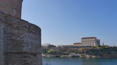 Palais du Pharo palace, Fort Saint-Jean and the Vieux-Port old port, Marseille, - stock footage
