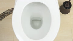 The water is discharged into the toilet bowl Stock Footage