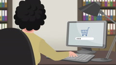 Cartoon Shopping / Girl Online Buying - stock footage