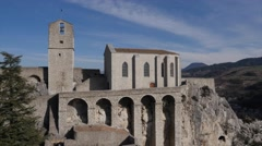 The historic Citadelle of Sisteron, Provence, France by drone Stock Footage