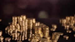 Tower of coins, money concept, dolly In shot Stock Footage