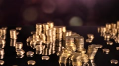 Tower of coins, money concept, dolly shot Stock Footage