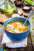 chicken noodle soup with carrots and green onions - stock photo