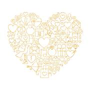 Gold Valentine`s Day Line Icons Set Heart Shape Stock Illustration