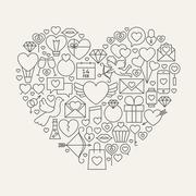 Valentine's Day Line Icons Set Heart Shape Stock Illustration