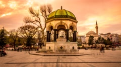 German Fountain in Istanbul city Stock Footage