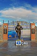 Stock Photo of LIVERPOOL UK JANUARY 8TH 2016. Dixie Dean statue and Wall of Fame in front of