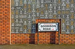 LIVERPOOL UK JANUARY 8TH 2016. Goodison Road Sign and wall of fame at Goodiso - stock photo