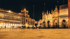 Piazza San Marco night time lapse. Venice, Italy Stock Footage