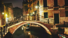 Narrow canal in Venice in the evening time lapse, Rio Marin canal, Italy Stock Footage