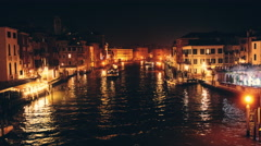Grand Canal view from Ponte degli Scalzi – night time lapse, Italy, Venice Stock Footage