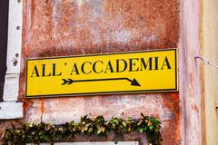 All Accademia direction sign in Venice - stock photo