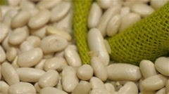 White beans on top of the green net Stock Footage