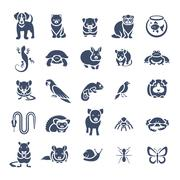 Animals pets vector flat silhouette icons set - stock illustration