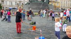 PRAGUE - CZECH REPUBLIC, AUGUST 2015: bubble soap game show Stock Footage
