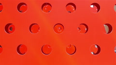Big red standee with holes moving in the expo event Stock Footage