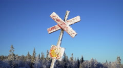 A cross mark for nordic skiing in the Scandinavian mountains Stock Footage