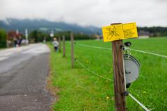 Electric fence sign Stock Photos