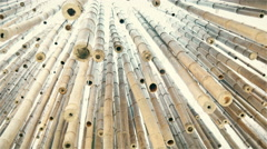 The upside view of the hanging bamboos in the expo Stock Footage