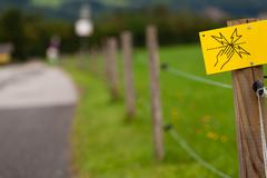 Electric fence sign - stock photo