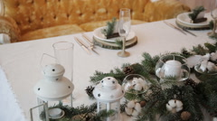 Christmas decorations on wedding table Rustic - stock footage
