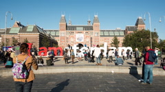 Time Lapse - Amsterdam Sign & People - Rijksmuseum - Amsterdam Netherlands - stock footage