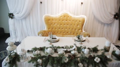 Christmas decorations on wedding table Rustic Stock Footage