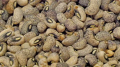 The common beans or brown beans in display Stock Footage