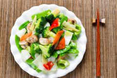 Healthy steamed mixed vegetables ready to eat - stock photo