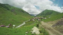 Svan village in mountains of Svaneti, Georgia. Stock Footage