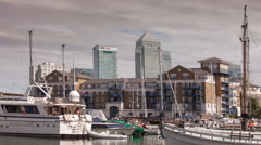Docklands canary wharf london finance city limehouse business offices Stock Footage