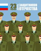 23 February. Day of defenders of fatherland. Holiday in Russia armed forces.  Stock Illustration