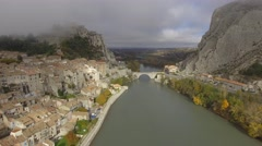 Sisteron town and the River Durance, French Alps, France – aerial view by drone Stock Footage