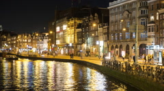 Time Lapse -  Busy Street Traffic Trams & Boats - Amsterdam Netherlands Stock Footage