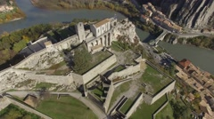 Citadel of Sisteron and the River Durance, Provence-Alpes-Cote d''Azur, France – - stock footage