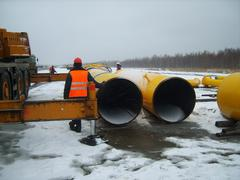 Construction of  gas pipeline on the ground - stock photo