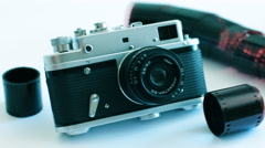 Old Camera On A White Background 3 Stock Footage