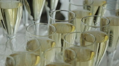Glasses of champagne at a wedding cocktail party Stock Footage